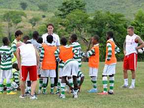 Photo: Coach McKinstry and Craig Bellamy with elite young players at the Craig Bellamy Academy (Photo: Samantha Bohall).