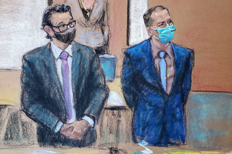 Former Minneapolis police officer Derek Chauvin and his defence attorney Eric Nelson on the 12th day of Chauvin's trial for second-degree murder, third-degree murder and second-degree manslaughter in the death of George Floyd in Minneapolis, Minnesota, US, on April 13 2021 in this courtroom sketch.