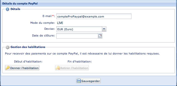 Association de votre compte PayPal™ dans Payzen
