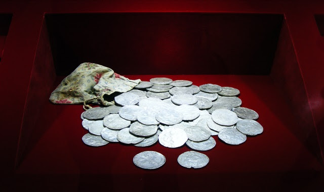 ANCIENT COINS AT MUSEUM OF CENTRAL BANK OF ROMANIA IN BUCHAREST