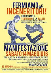 """Firenze: """"Fermiamo gli inceneritori"""" - 14 maggio 2016."""