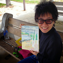 Photo: Julie Chen with her painting