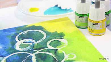 Photo: Жидкий акрил Pébéo на холсте (цветные чернила, тушь, краска для аэрографии)