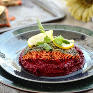 Herbed Sockeye Salmon with Roasted Beet Mash.
