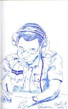 Photo: 邊聽邊記2011.10.18鋼珠筆 夜半值班的空檔,王科員專注地複聽並寫起了白天的接見記錄。