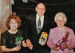 Photo: Charter members in attendance at the 20th Anniversary Dance: l-r, Roz Sutherland, Jules Lerzak, and Secretary/Treasurer Ellen Snellenbarger.
