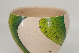 "Photo: Tina Chisena 5 1/2"" x 5 1/2"" footed bowl [maple, burning, color] (detail)"