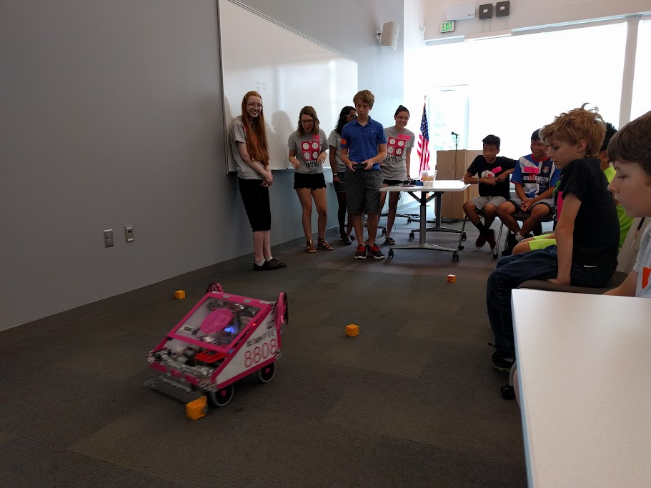 Student driving the robot