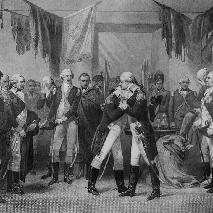 """Washington's Farewell"" in Fraunces Tavern. Engraving by Alonzo Chappel."