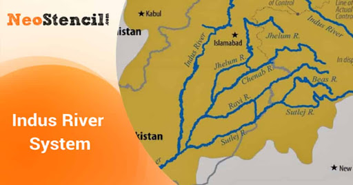 UPSC Geography - Indus River System | NeoStencil on indus river delta map, tigris mouth map, indus valley map,