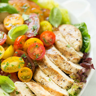 Grilled Chicken with Tomato Cucumber Salad.
