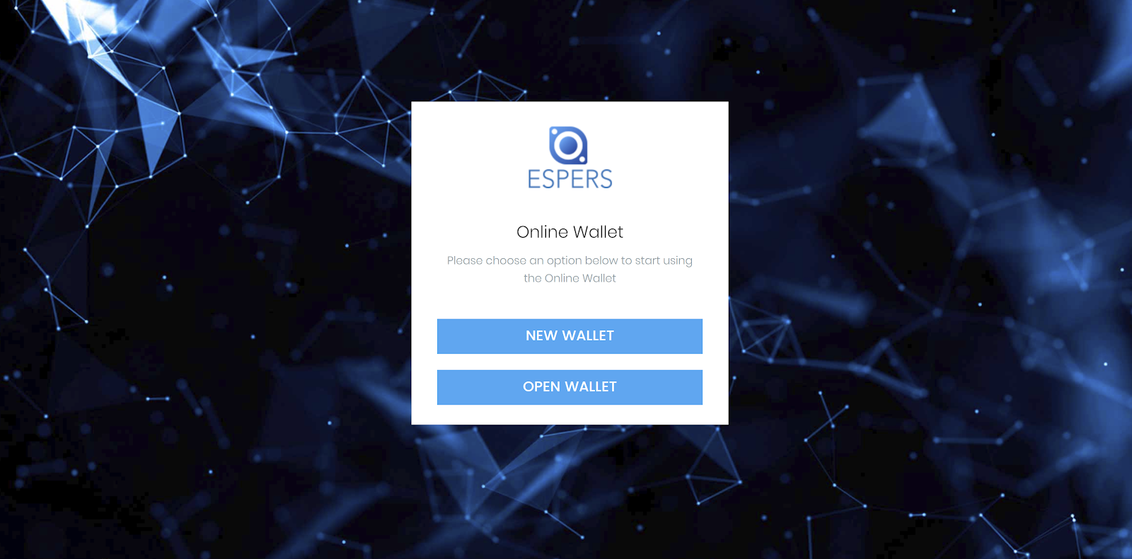 create espers wallet screen