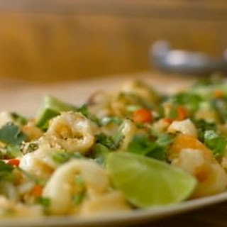 Tempura Squid And Prawns With Coriander Salsa.