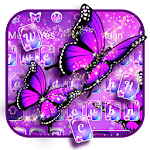 Purple Neon Butterfly Keyboard