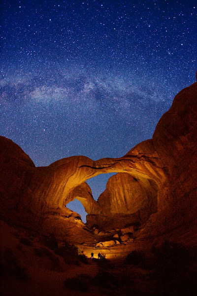 """Photo: ***EXCLUSIVE***  UTAH - OCTOBER 19: A photograph of Double Arch and Milky Way stars at Arches National Park on October 19, 2011 in Utah.  Stunningly beautiful images capture the glory of the Milky Way taken with just a simple digital camera. Revealing the Earth's place in our swirling galaxy, the pictures on display look like they could have been snapped with a million pound telescope not a readily available camera. And incredibly, photographer Royce Bair has only been turning his lens to the night's sky for the past six months. Calling his series """"Night Scapes', Royce, (insert age) created the erie and ghostly images by visiting some of America's most famous national parks.  PHOTOGRAPH BY Royce Bair / Barcroft USA  UK Office, London. T +44 845 370 2233 W www.barcroftmedia.com  USA Office, New York City. T +1 212 796 2458 W www.barcroftusa.com  Indian Office, Delhi. T +91 11 4053 2429 W www.barcroftindia.com"""