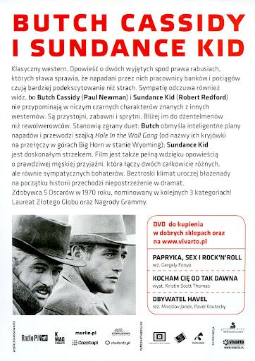 Tył ulotki filmu 'Butch Cassidy i Sundance Kid'
