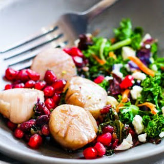 One Pan Maple Balsamic-Glazed Scallops with Pomegranate