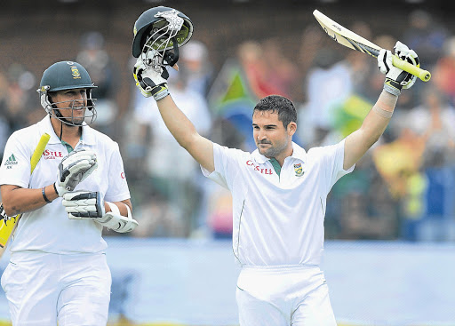 Dean Elgar of South Africa celebrates at St George's Park.