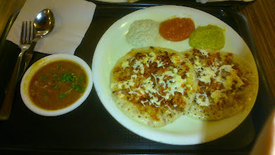 Photo: I will miss them, Tomato Onion & Cheese Uttapam with yummy Sambar soup at Up South (http://www.zomato.com/pune/upsouth-viman-nagar). I call them Uttapam Pizza. I just hope they will use less baking powder.  29th April updated (日本語はこちら) - http://jp.asksiddhi.in/daily_detail.php?id=526