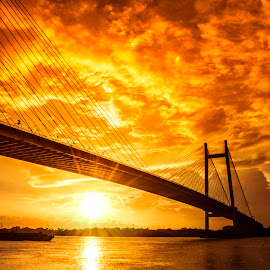 Sunset Color by New Vision007 - Buildings & Architecture Bridges & Suspended Structures ( sky, color, sunset, kolkata, cloud, the ganges, vidyasagar bridge )