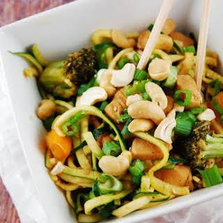 Cashew Chicken with Zucchini Noodles.