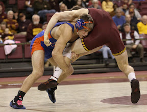 Photo: 149 – #2 Jason Chamberlain, Boise State, dec. Seth Lange, Minnesota, 13-6. Photo by Mark Beshey.