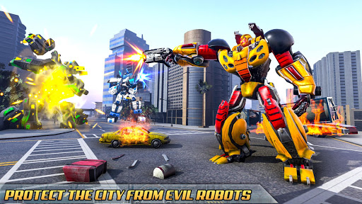 Flying Taxi Car Robot: Flying Car Games  screenshots 8