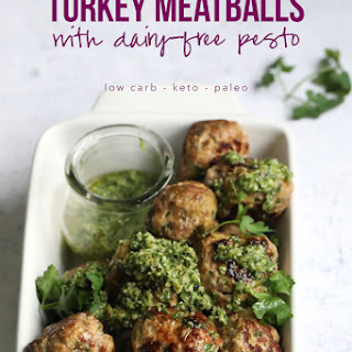 Keto Turkey Meatballs with Dairy-Free Pesto.