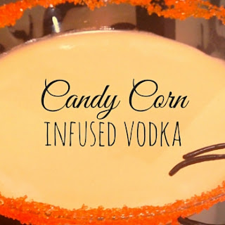 Candy Corn Infused Vodka Halloween Cocktail.