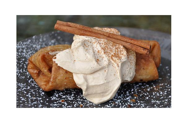 Mini-Apple Chimichangas With Caramel Whipped Cream