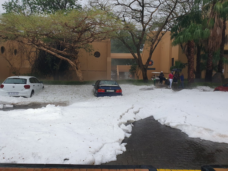 "Kenny Moodley titled this photo he shared via Twitter as:""One of the worst hail storms in Sun City. Looked like snow."" December 15, 2018"
