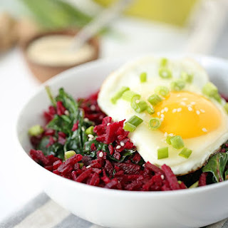 Crunchy Miso Beet Rice with Spinach and Egg.