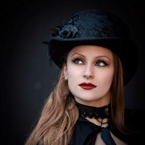 Melyna by Edi Libedinsky - People Portraits of Women ( beautiful, woman, steampunk, black, pale,  )