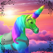Unicorn Flying in the Sky of Star