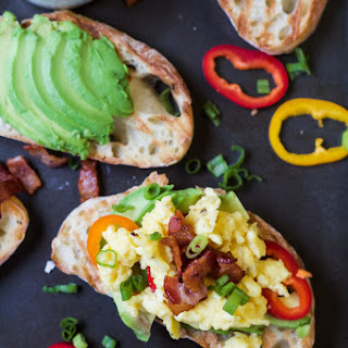 Breakfast Bruschetta on Avocado Toast.