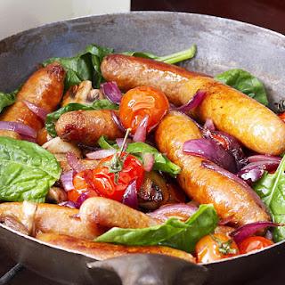 Sausage, Spinach and Mushroom Saute.