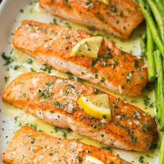 Skillet Seared Salmon with Garlic Lemon Butter Sauce.