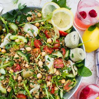 Mediterranean Farro Salad with Sweet Zesty Lemonade Dressing.