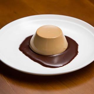 Nigella's Three-Course Dinner - Coffee Panna Cotta with Chocolate Sauce.