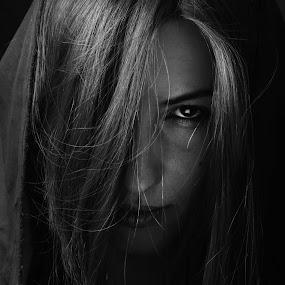 Mistery portrait by Bilyana Stoyanovska - People Portraits of Women ( studio, mystery, low key, woman, dark, single light, light, portrait, closeup, eye )