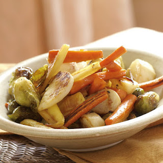 Roasted Winter Vegetables with a Maple-Ginger Glaze.