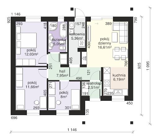 Dom przy Bukowej 11 - Rzut parteru