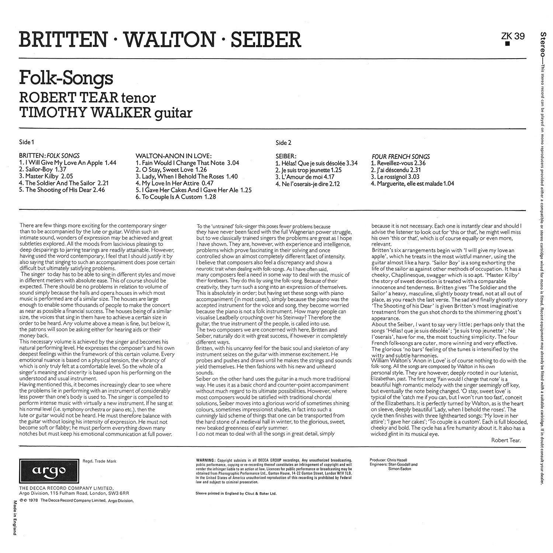Benjamin Britten, Mátyás Seiber, William Walton, Robert Tear