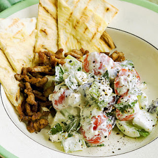 Greek Salad with Lamb and Flatbread