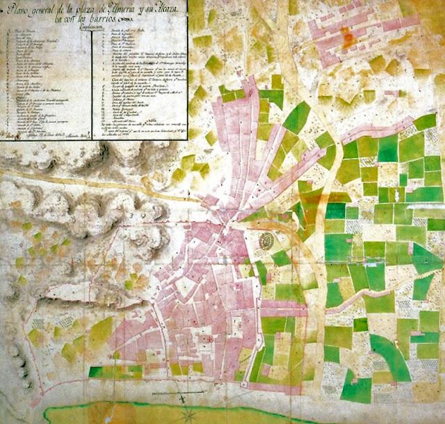 Plano de la ciudad de Almería en el año 1800 (Foto: Archivo Histórico Municipal de Almería).