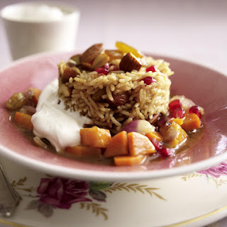North African Spiced Rice with Yogurt Dip.