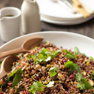 Quinoa, Red Rice And Black Lentil Salad With Spicy Cauliflower