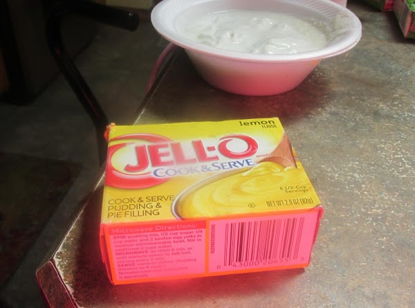 Then add lemon pudding mix, and stir to blend together.