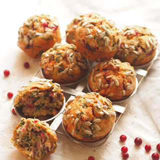 Savoury Spinach & Lingonberry Muffins
