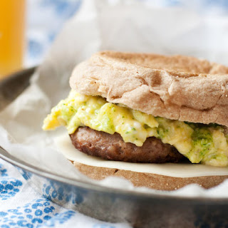 Arugula Pesto, Egg and Turkey Sausage Breakfast Sandwiches.